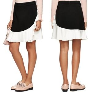 KATE SPADE Black Crepe Ruffle Mini Skirt